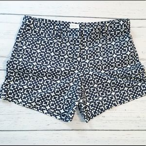 Navy and white pattern cotton shorts